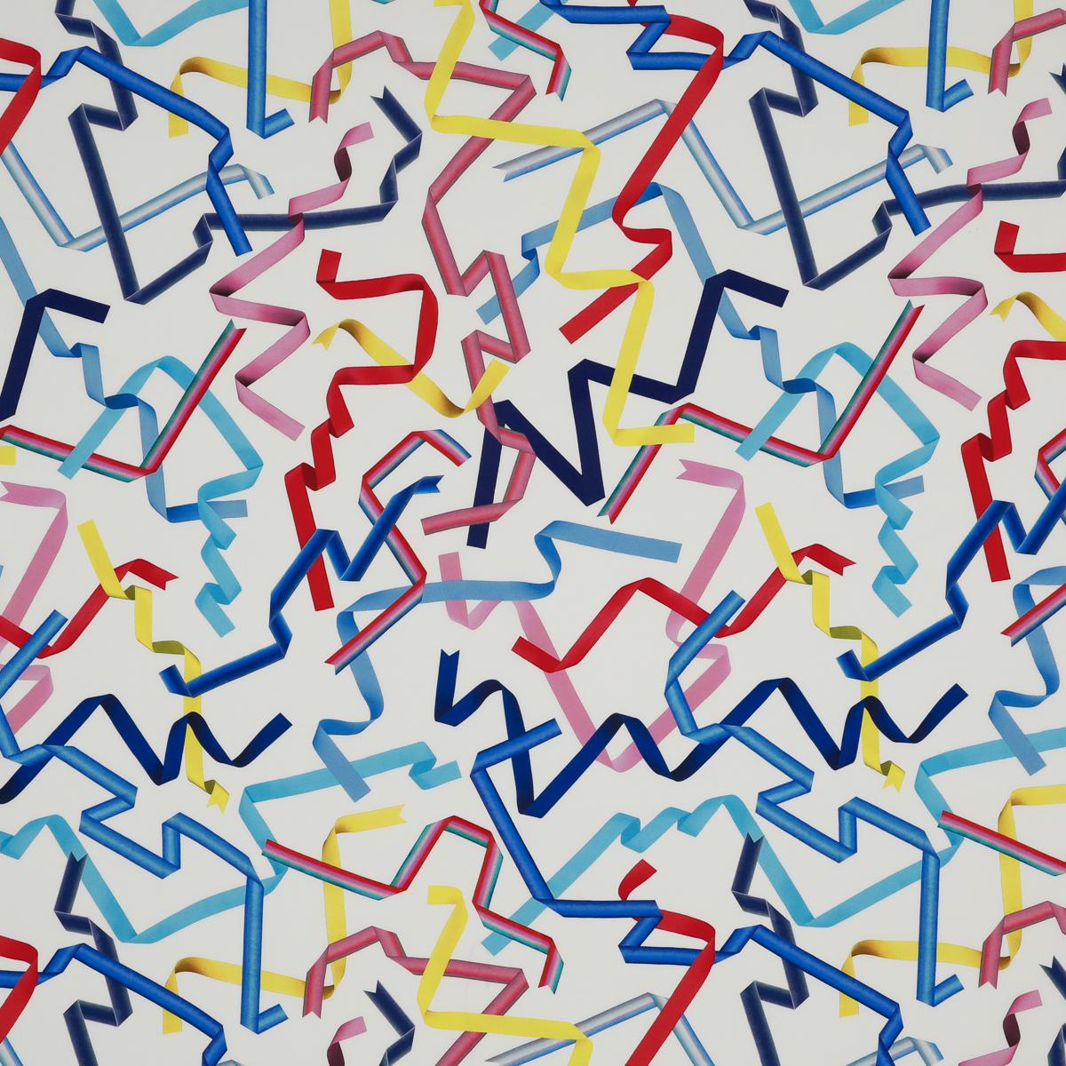 Белый крепдешин в разноцветные репсовые ленты