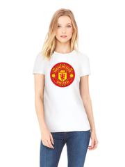 Футболка с принтом FC Manchester United (ФК Манчестер Юнайтед) белая w003