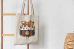 Сумка-шоппер с принтом FC Barcelona (ФК Барселона) бежевая 004