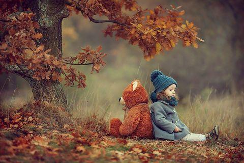 Картина раскраска по номерам 40x50 Маленькая девочка с медвежонком