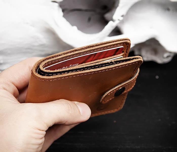 WB162 Мужской кожаный кошелек ручной работы, «Boroda Design» фото 07