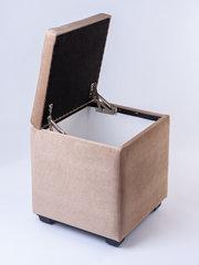Пф-400-Я Пуфик квадратный (бежевый) с ящиком для хранения