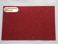 Фоамиран с блестками красный 2мм