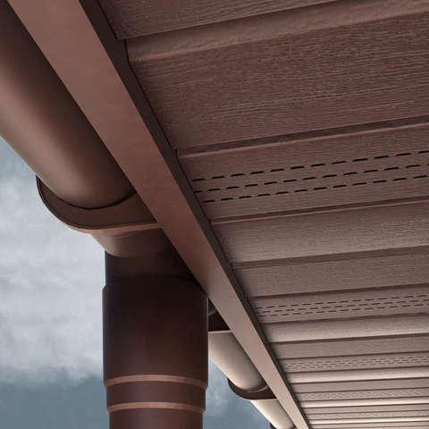 Софит Ю пласт коричневый с частичной перфорацией