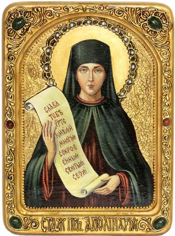 Подарочная живописная икона Святая преподобная Ангелина Сербская 29х21см на кипарисе