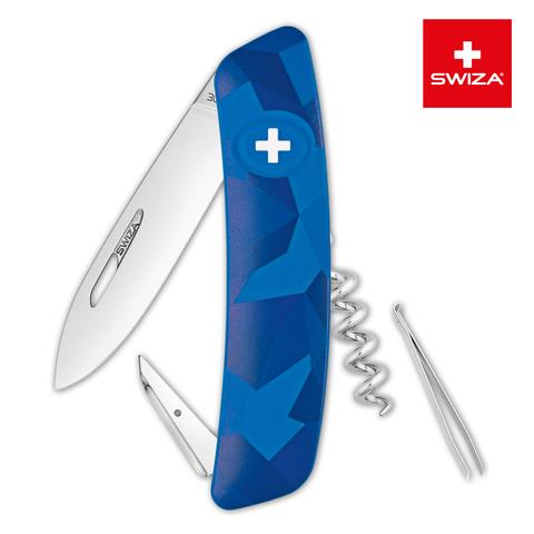 Швейцарский нож Swiza  (KNI.0010.2030) C01 Camouflage 95 мм 6 функций синий
