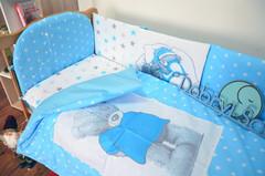 Комплект постельного белья для новорождённых Тедди панели 01-04 Голубой