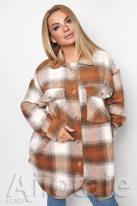 Пальто рубашка oversize в оранжевую клетку