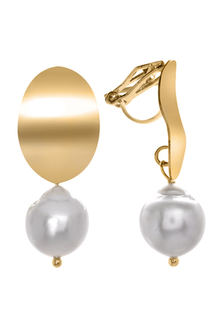 Серьги-клипсы с жемчугом Aurora Specchio Gold