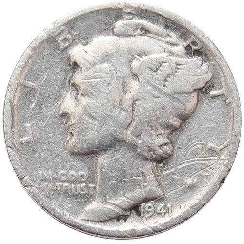 1 дайм (10 центов) 1941. США VG (Меркурий) Серебро