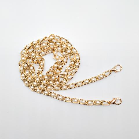 Цепочка для сумки с жемчужинами 8*15, 120 см., под светлое золото