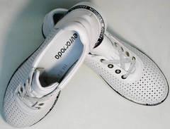 Туфли со шнурками женские кожаные кроссовки с перфорацией Evromoda 215.314 All White.