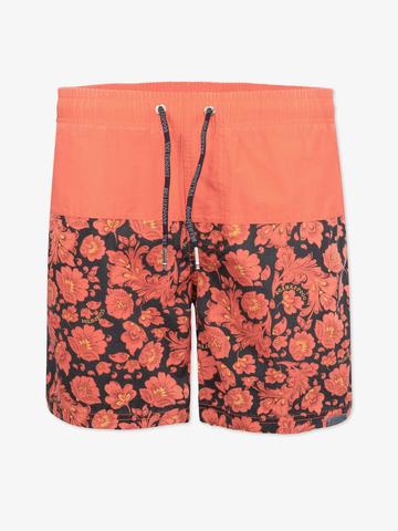 Винтажные пляжные шорты «Ярко-красная хохлома»