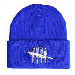 Вязаная шапка с отворотом и вышивкой Dead by Daylight (Мертвы к рассвету), синяя