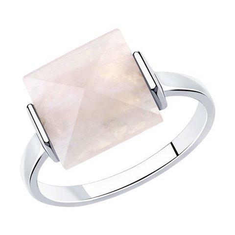 92011969 - Кольцо из серебра с  квадратным, розовым кварцем