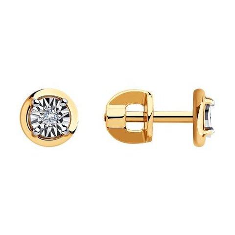 1020984- Серьги-пусеты из золота с бриллиантами от SOKOLOV