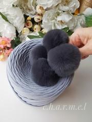 Помпон из натурального меха, Кролик, 5-6 см, цвет Тёмный дым, 2 штуки