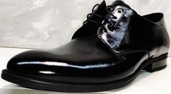 Черные туфли мужские дерби лакированные Ikoc 2118-6 Patent Black Leather.