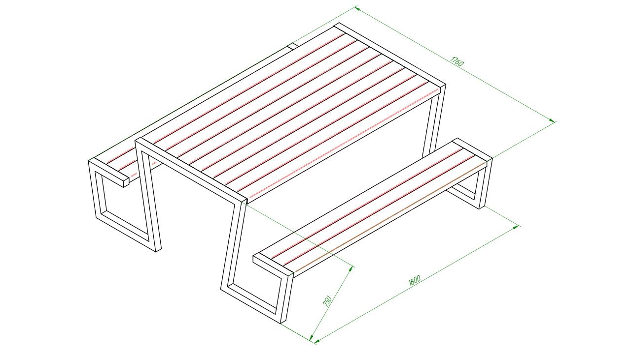 Скамейка со столом SCAM0250
