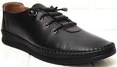 Стиль смарт кэжуал черные кожаные кеды кроссовки женские модные EVA collection 151 Black.