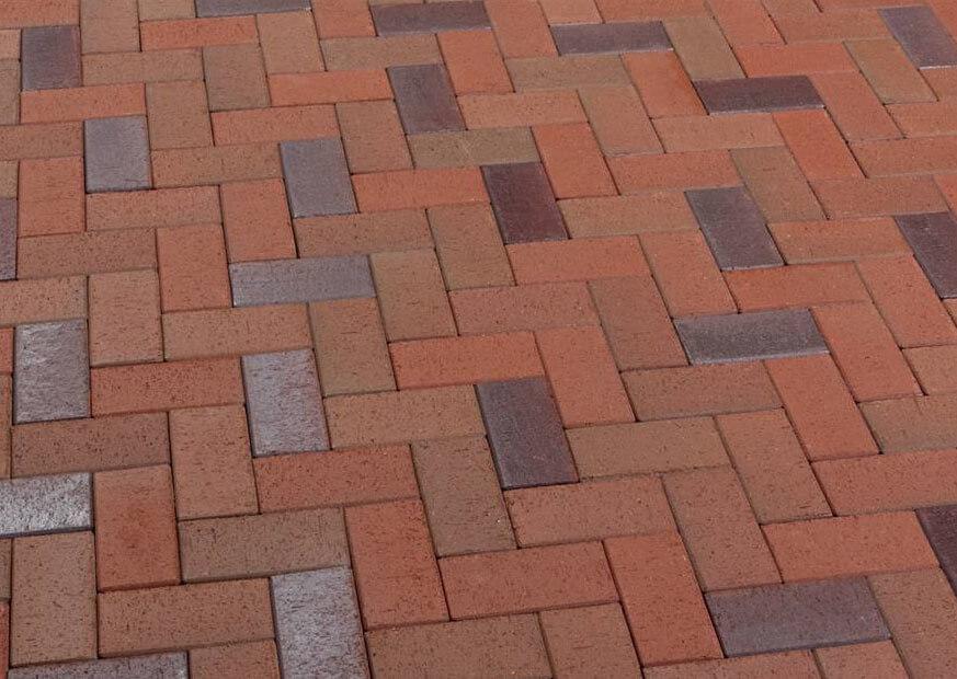 Feldhaus Klinker - P405SKF, Gala alea, красный пестрый, с фиолетовым нагаром, с оттенками, 200x100x40 - Клинкерная тротуарная брусчатка
