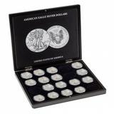 Презентационный бокс для 20 серебряных монет «Американский Орел» American Eagle в капсулах, черный