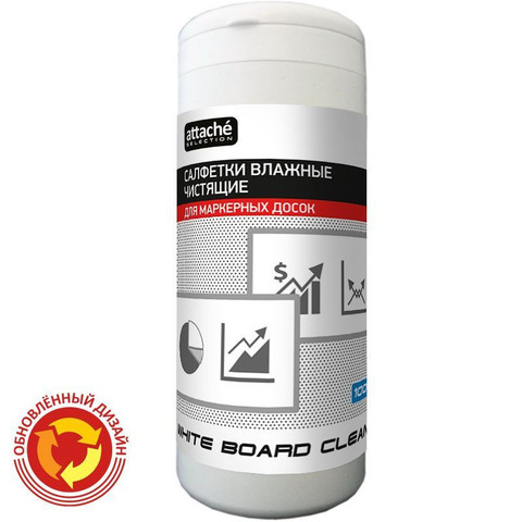 Салфетки для чистки белых маркерных досок Attache Selection White Board Clean (100 штук, вискоза)