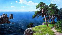 Картина раскраска по номерам 50x65 Деревья на скале у моря