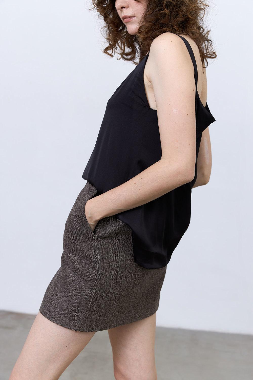 Юбка мини с гульфиком (костюмный твид), елочка кофе