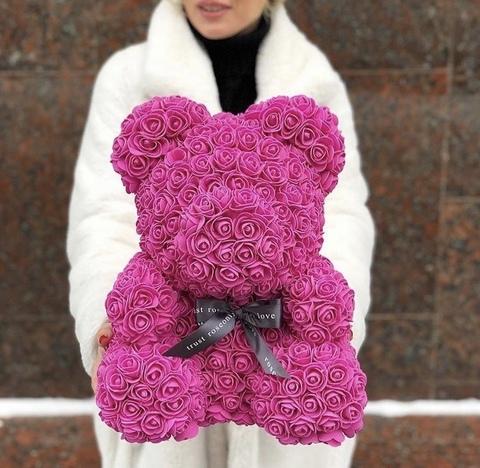 Мишка из роз 40 см в подарочной коробке #3527