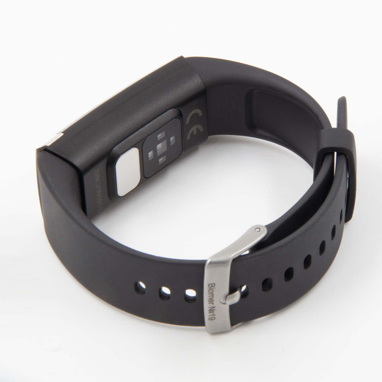 Профессиональный браслет здоровья с автоматическим измерением давления, пульса, кислорода, HRV, снятием ЭКГ и контролем аномального пульса  Biomer №19 (HB) (чёрный)