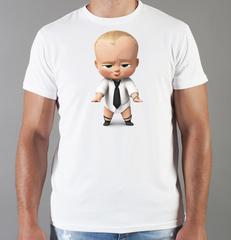 Футболка с принтом мультфильма Босс-молокосос (The Boss Baby) белая 004