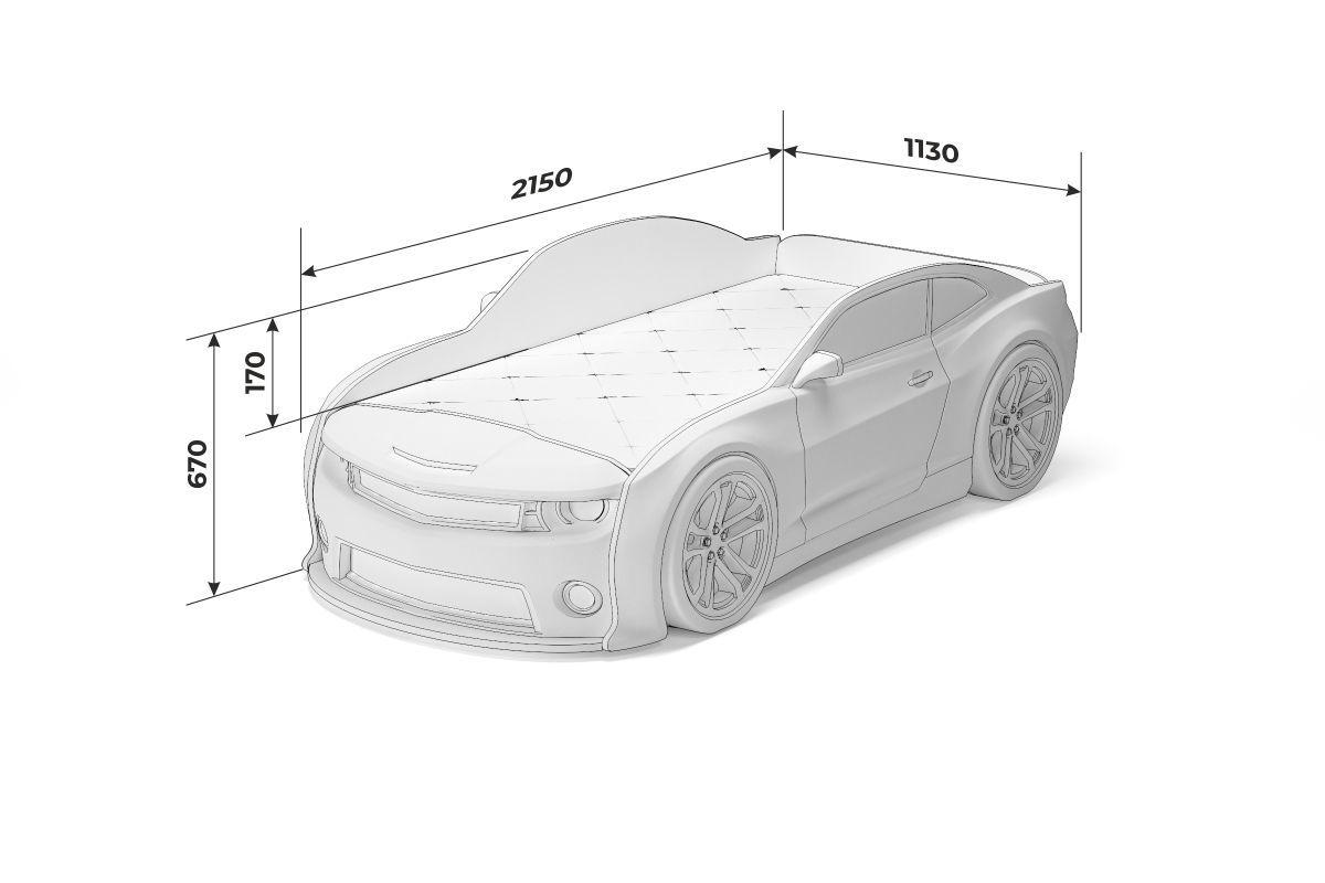 """Кровать-машинка объемная EVO """"Camaro"""" белый матовый"""