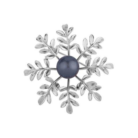 Брошь Снежинка с жемчужиной FAN-07094.1 BW/S