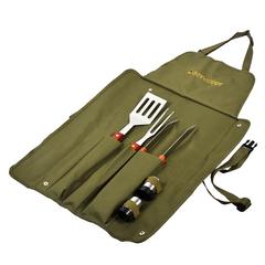 Набор: сумка-фартук, вилка, лопатка, щипцы, солонка, перечница