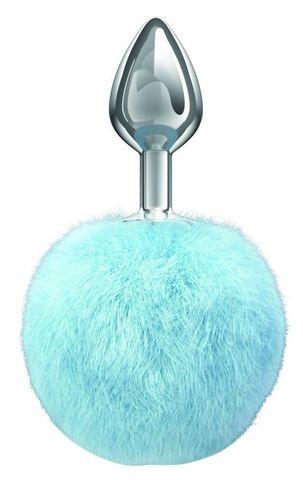 Серебристая анальная пробка с голубым пушистым хвостиком Twinkle