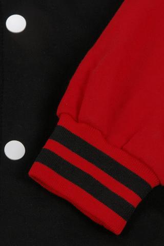 Бомбер черный с красным фото