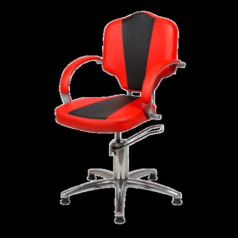 Парикмахерское кресло Мона Люкс гидравлика хром, пятилучье хром на подпятниках