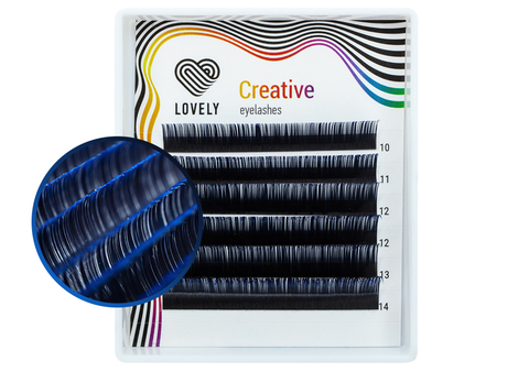 Ресницы двухтоновые синие Lovely MINI - 6 линий - MIX