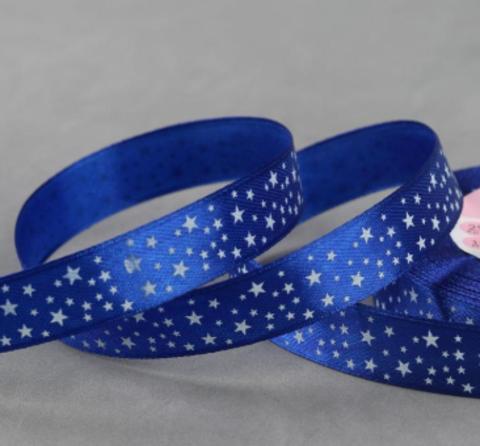 Лента атласная «Звёзды»,цвет синий,15мм*23*1м
