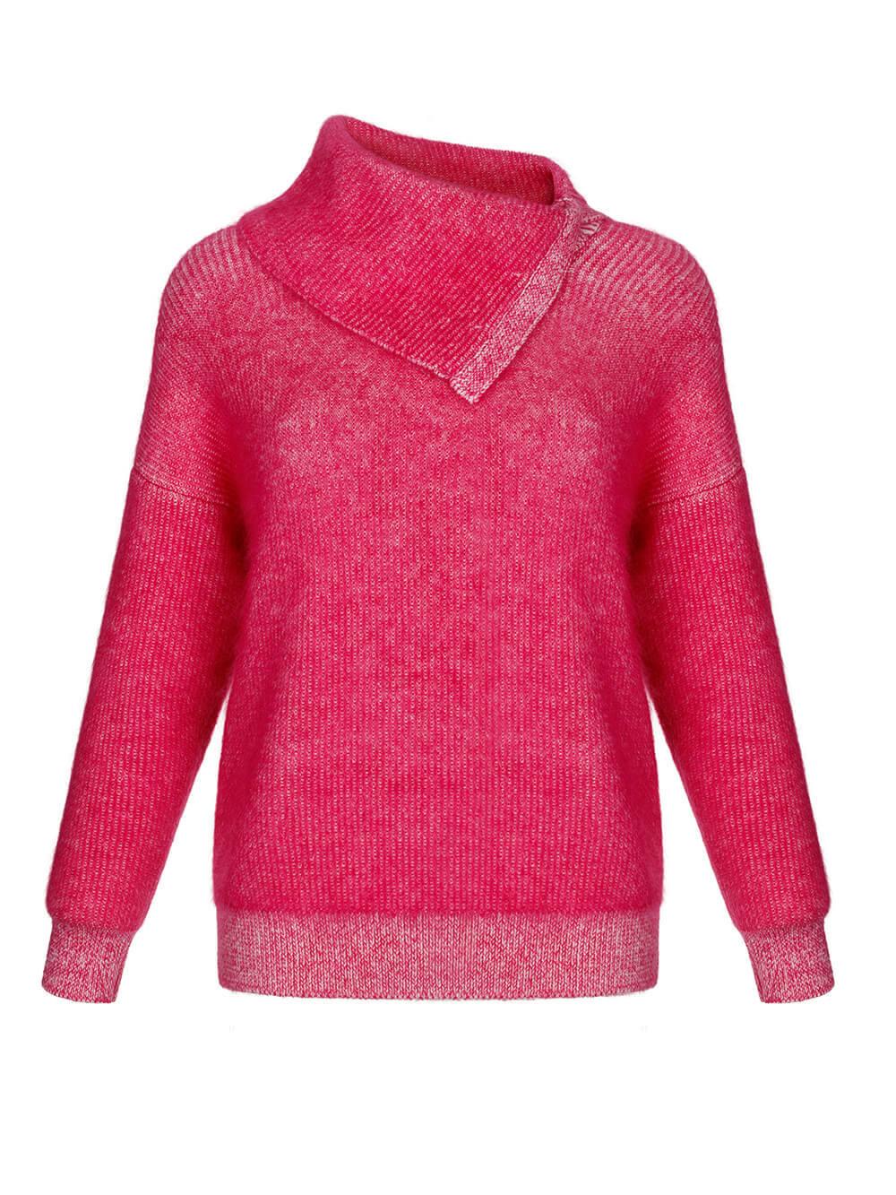 Женский свитер розового цвета из мохера и кашемира - фото 1