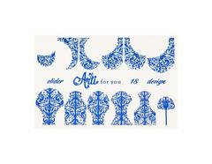 Фольга для дизайна ногтей синяя 18