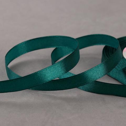Лента атласная, цвет темно-зелёный, 10мм*23±1м
