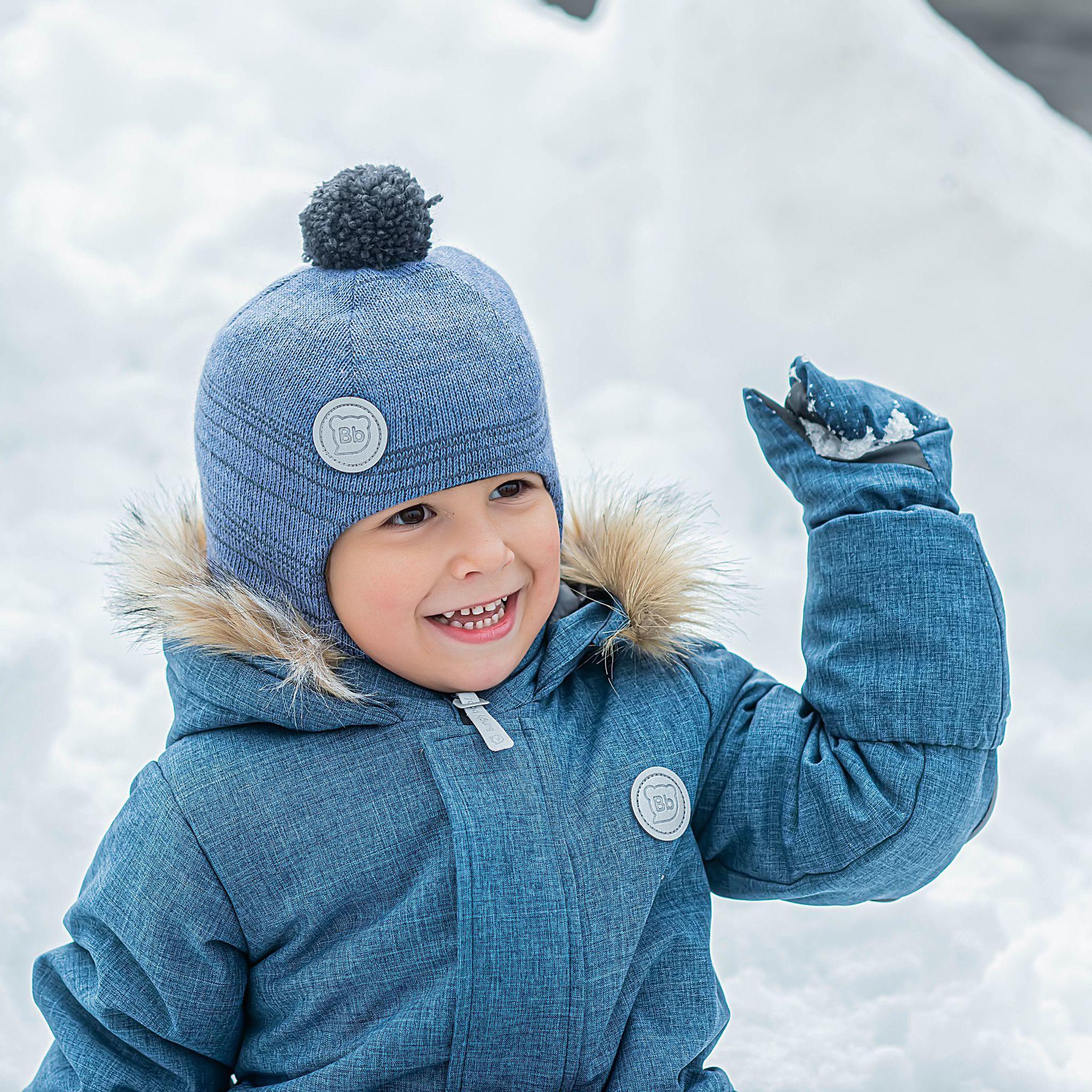 Winter knitted balaclava with pompon - Denim-Graphite Melange