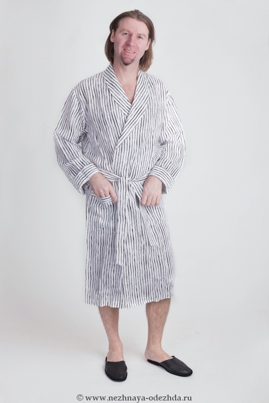 Мужской льняной халат GrigioPerla