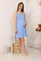 Мамаландия. Сорочка для беременных и кормящих с кнопками, светло-синий вид 2