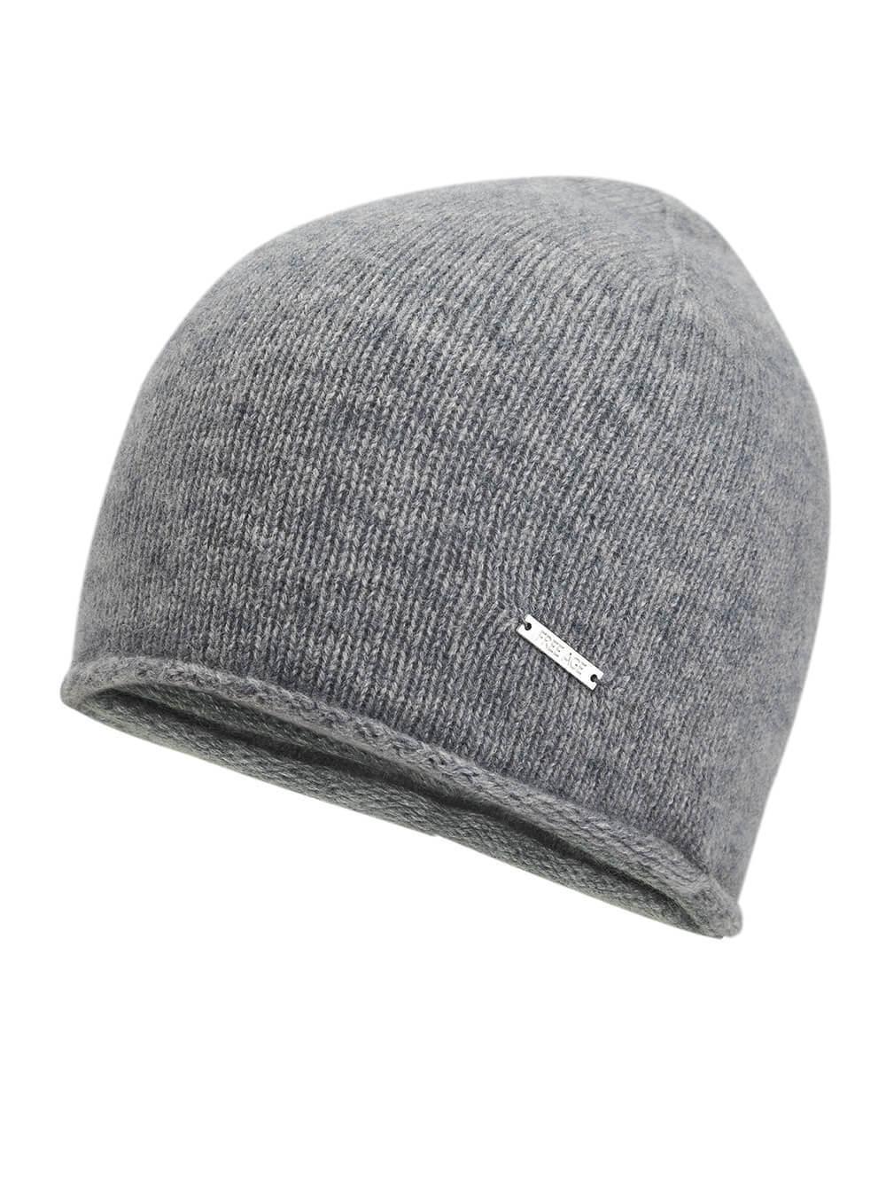 Женская серая шапка из 100% кашемира - фото 1