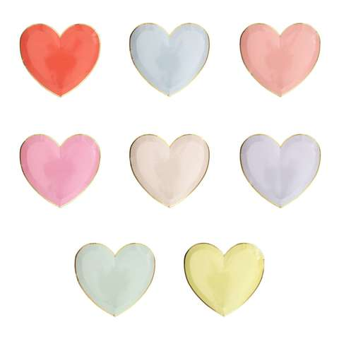 Тарелки пастельные в форме сердца