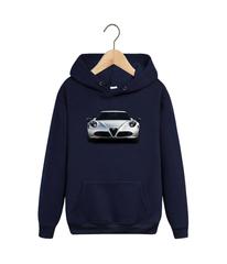 Толстовка темно-синяя с капюшоном (худи, кенгуру) и принтом Альфа Ромео (Alfa Romeo) 002