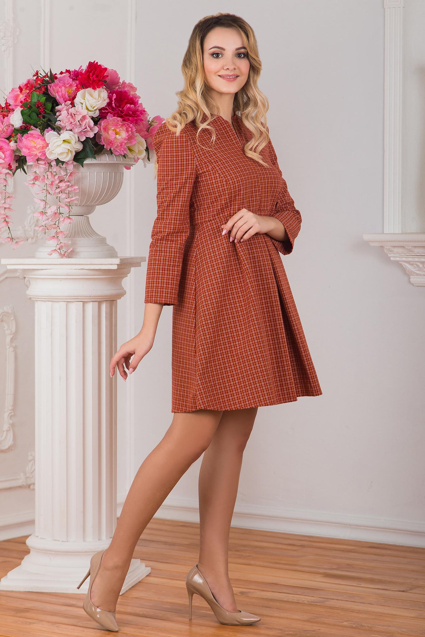Платье клетчатое Рыжая осень вид сбоку